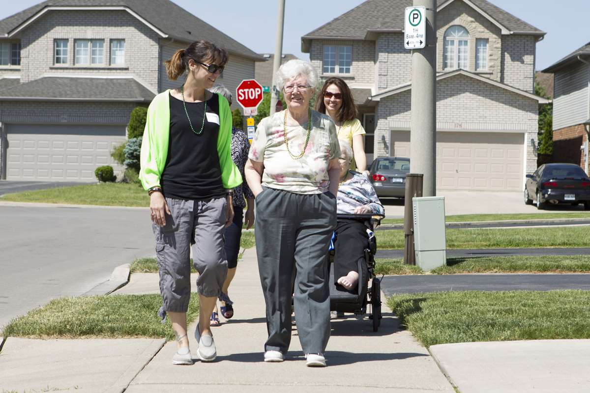 Residents going for a walk to promote good health